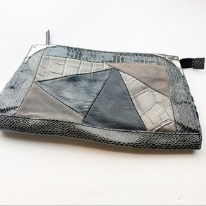 Faux Leather Patchwork Snake Print Clutch